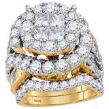 14kt Yellow Gold Womens Princess Diamond Bridal Wedding Engagement Ring Band Set 5 - 5/8 Cttw