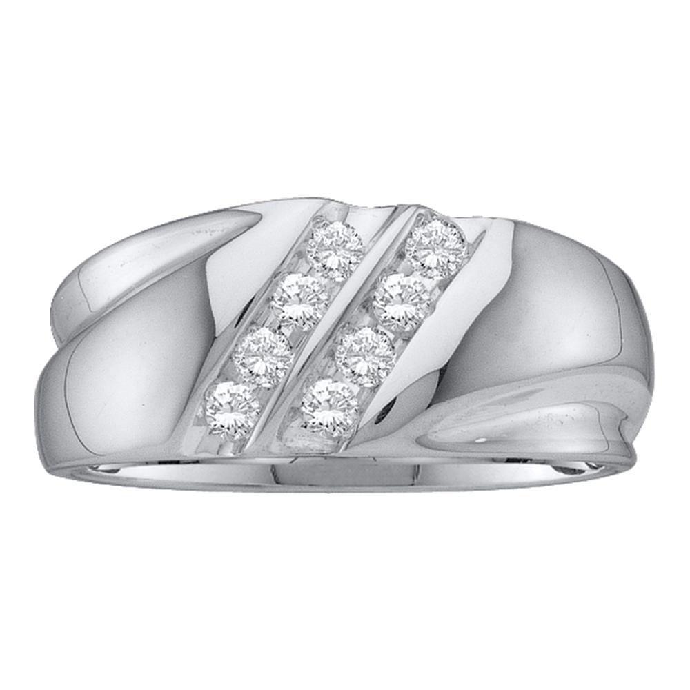 10kt White Gold Mens Round Diamond Wedding Double Row Band Ring 1/4 Cttw
