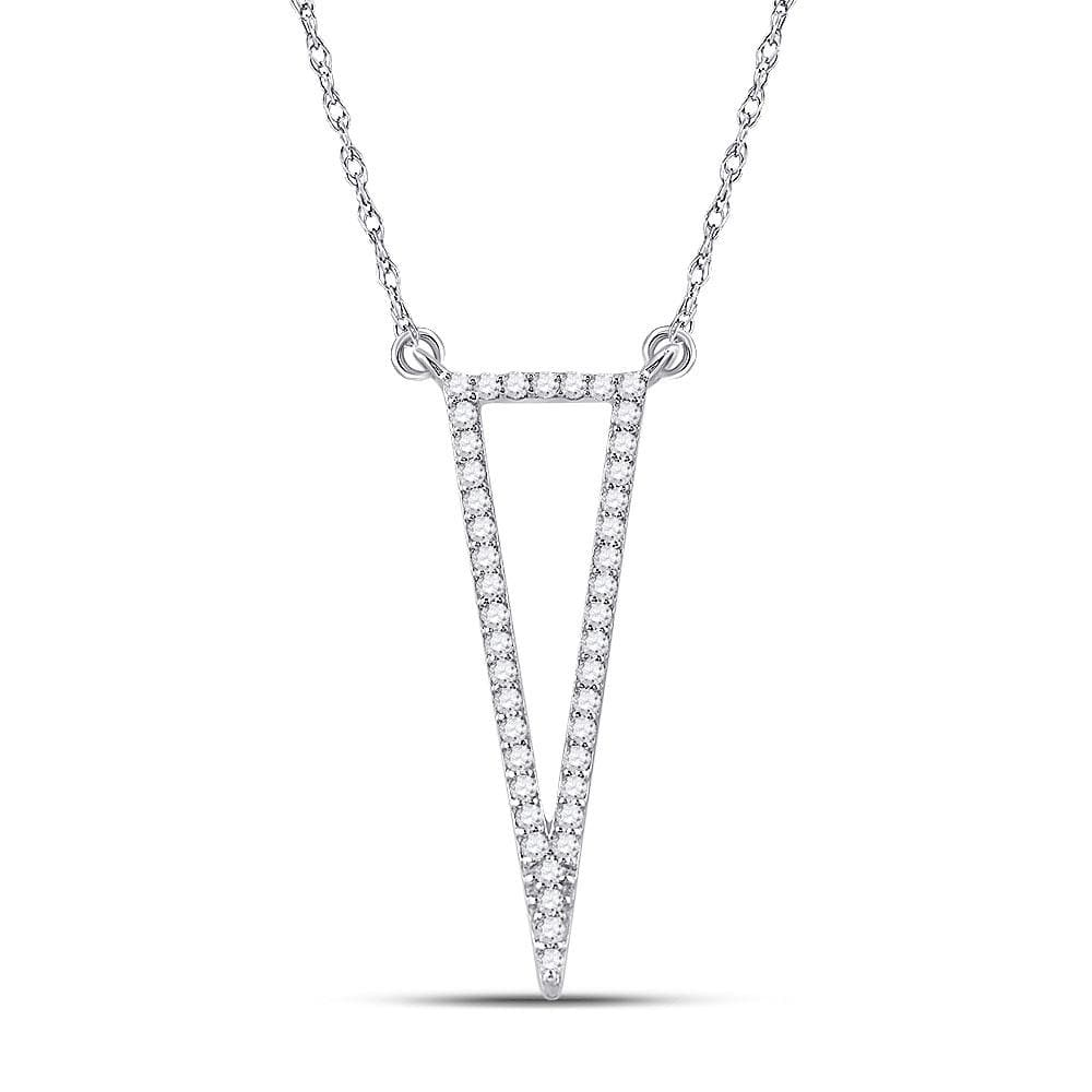 14kt White Gold Womens Round Diamond Triangle Fashion Necklace 1/4 Cttw