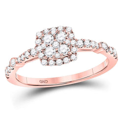 14kt Rose Gold Womens Round Diamond Square Cluster Bridal Wedding Engagement Ring 1/2 Cttw