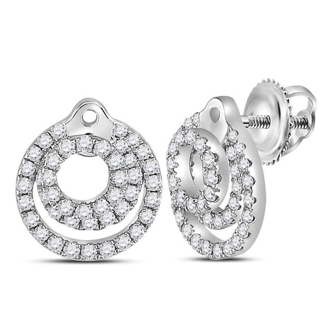 14kt White Gold Womens Round Diamond Circle Stud Earrings 1/2 Cttw