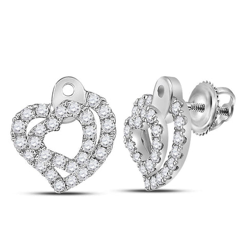 14kt White Gold Womens Round Diamond Heart Stud Earrings 1/3 Cttw
