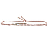 14kt Rose Gold Womens Round Brown and White Diamond Double Bolo Bracelet 1/2 Cttw