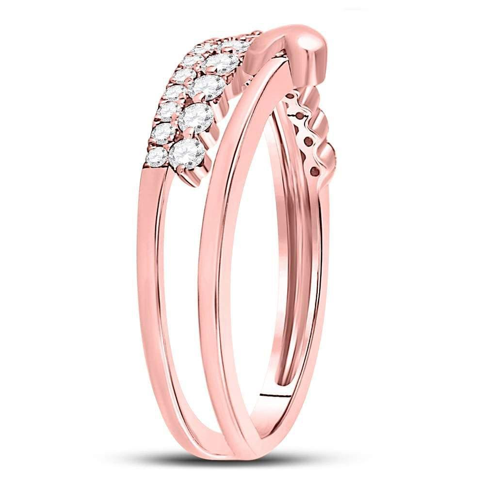 14kt Rose Gold Womens Round Diamond Fashion Heart Ring 3/8 Cttw