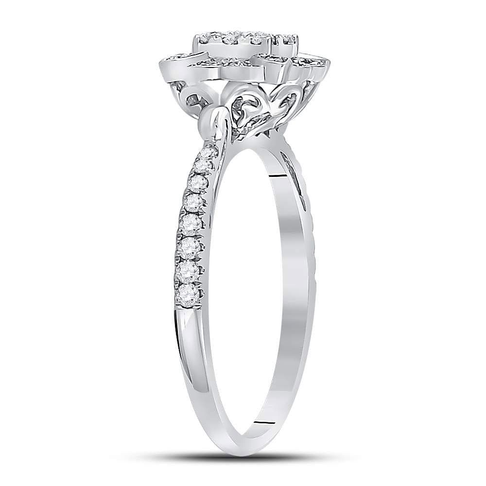 14kt White Gold Womens Round Diamond Solitaire Bridal Wedding Engagement Ring 1/2 Cttw