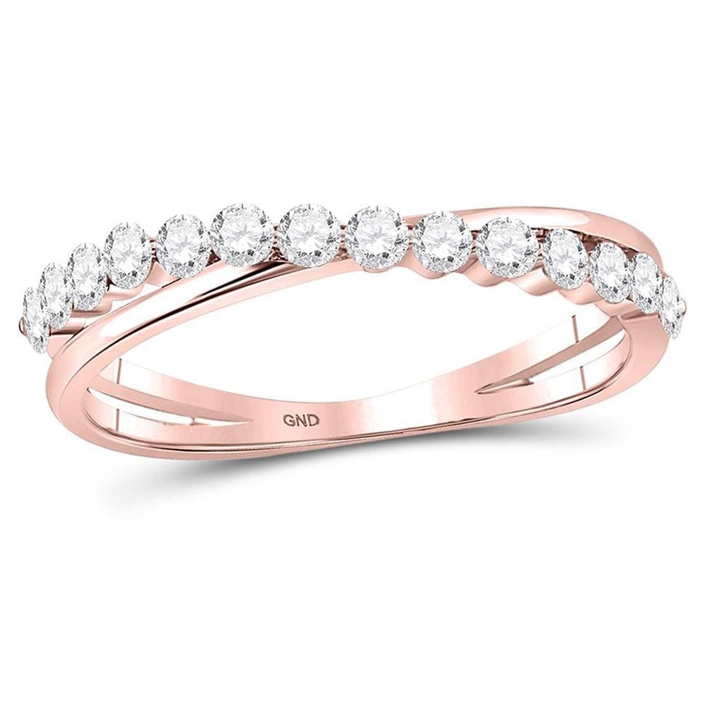 10kt Rose Gold Womens Round Diamond Crossover Stackable Band Ring 1/3 Cttw