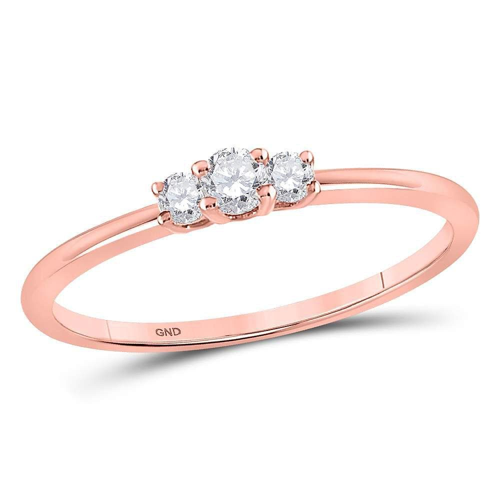 10kt Rose Gold Womens Round Diamond 3-stone Promise Bridal Ring 1/6 Cttw