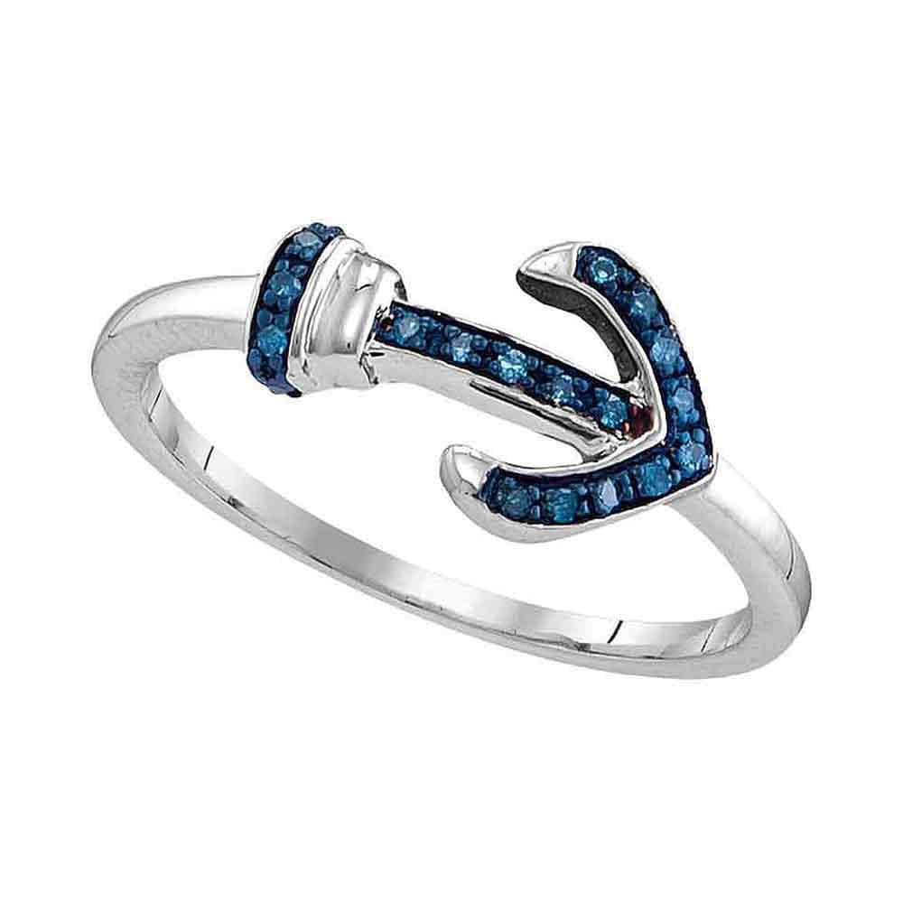 Sterling Silver Womens Round Blue Color Enhanced Diamond Anchor Ring 1/20 Cttw Size 6