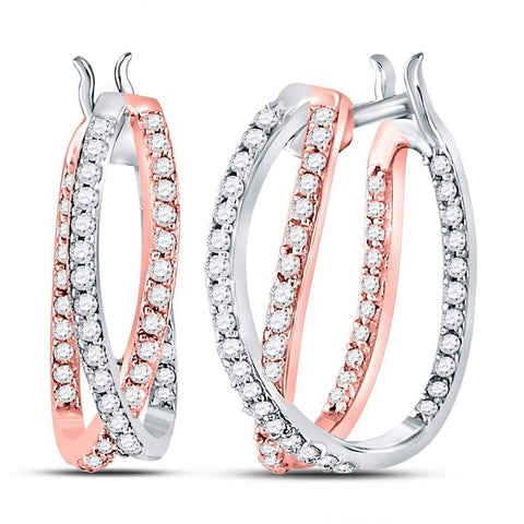 14kt Two-tone Gold Womens Round Diamond 2-Row Inside Out Hoop Earrings 1/2 Cttw