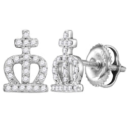 14kt White Gold Womens Round Diamond Crown Cross Stud Earrings 1/5 Cttw