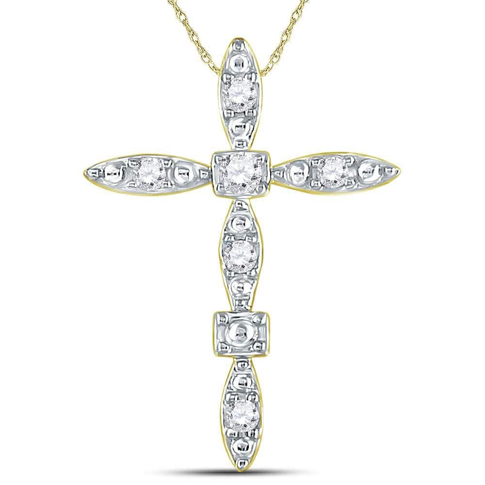 14kt Yellow Gold Womens Round Diamond Geometric Cross Pendant 1/10 Cttw