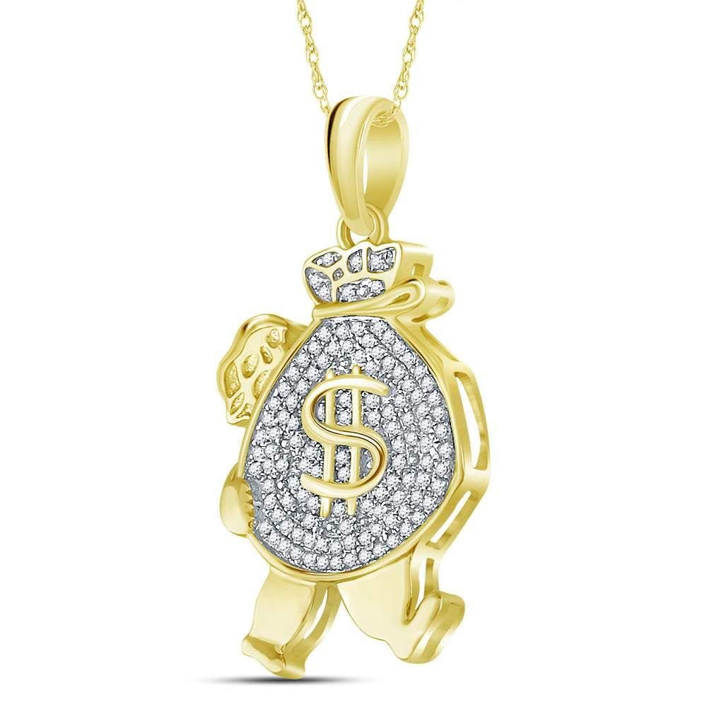 10kt Yellow Gold Mens Round Diamond Money Bag Man Charm Pendant 1/4 Cttw