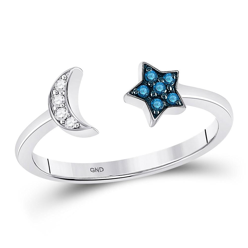 Sterling Silver Womens Round Blue Color Enhanced Diamond Moon & Star Ring 1/10 Cttw Size 6