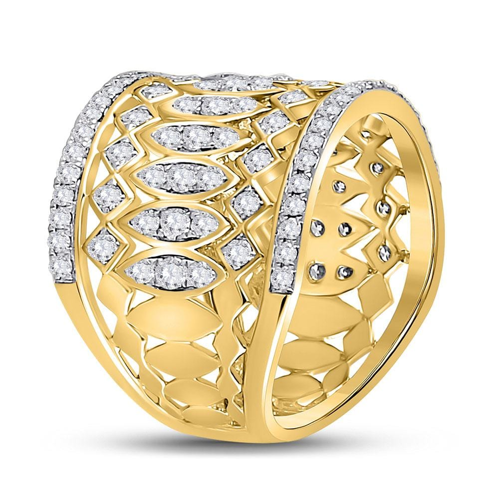 14kt Yellow Gold Womens Round Diamond Right Hand Cocktail Ring 1-3/8 Cttw