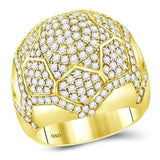 14kt Yellow Gold Mens Round Diamond Domed Star Cluster Ring 3-1/2 Cttw