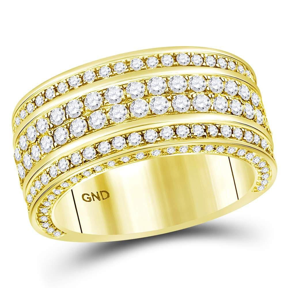 14kt Yellow Gold Mens Round Diamond Luxury Lined Band Ring 2-3/4 Cttw