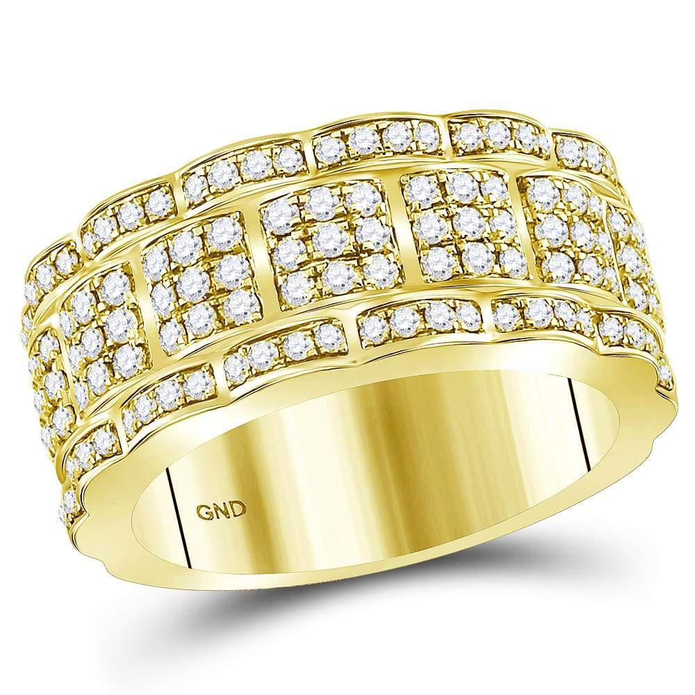14kt Yellow Gold Mens Round Diamond Band Ring 1-7/8 Cttw