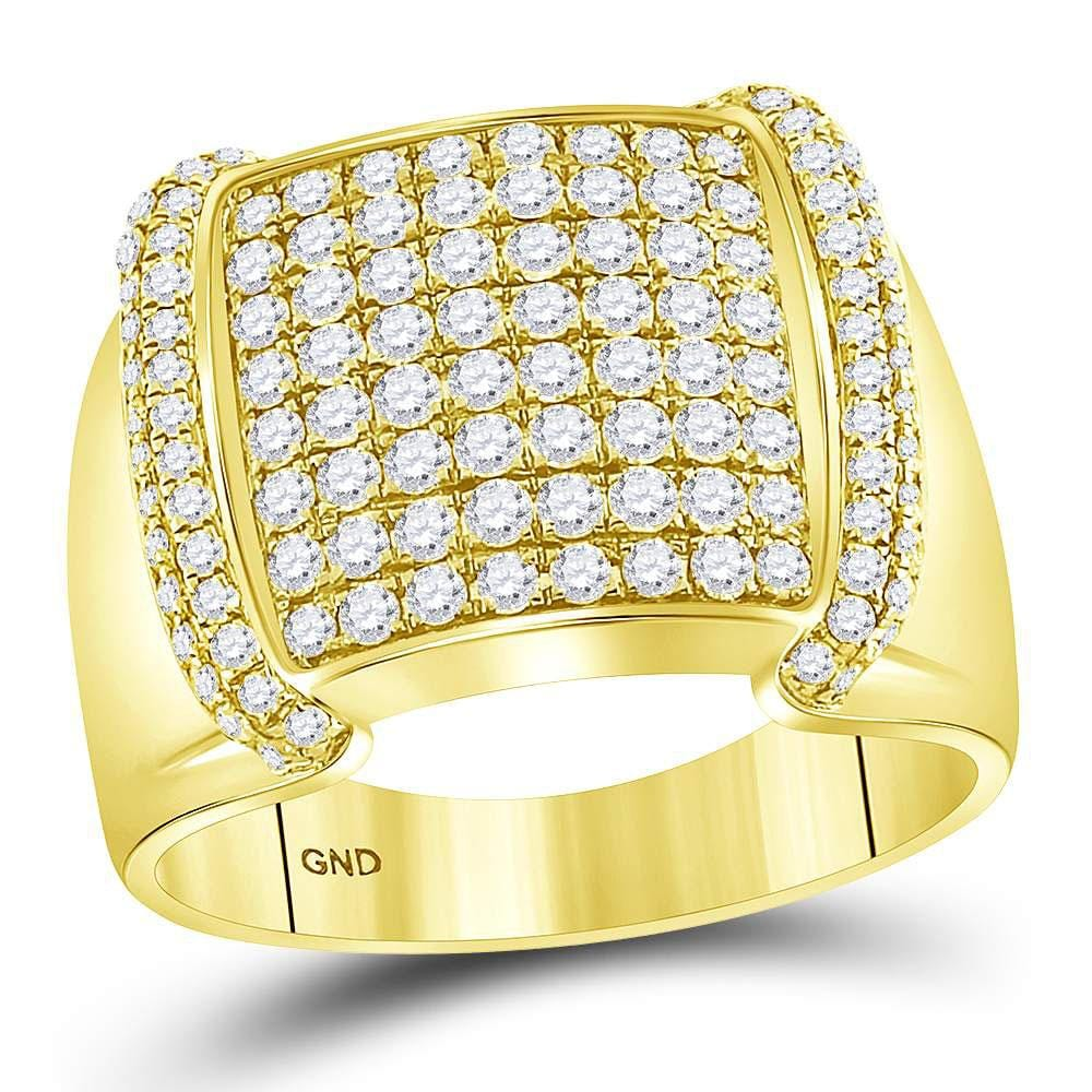14kt Yellow Gold Mens Round Diamond Square Cluster Ring 1-3/4 Cttw