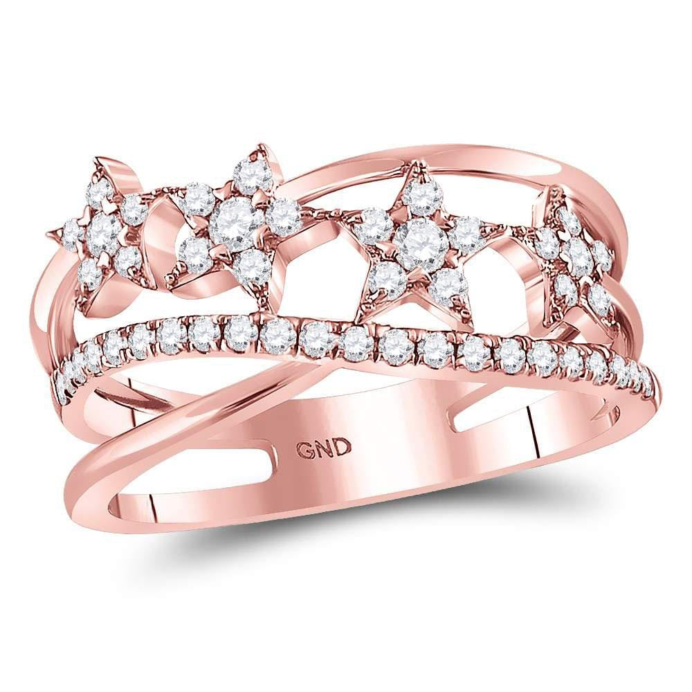 14kt Rose Gold Womens Round Diamond Fashion Crossover Star Ring 3/8 Cttw