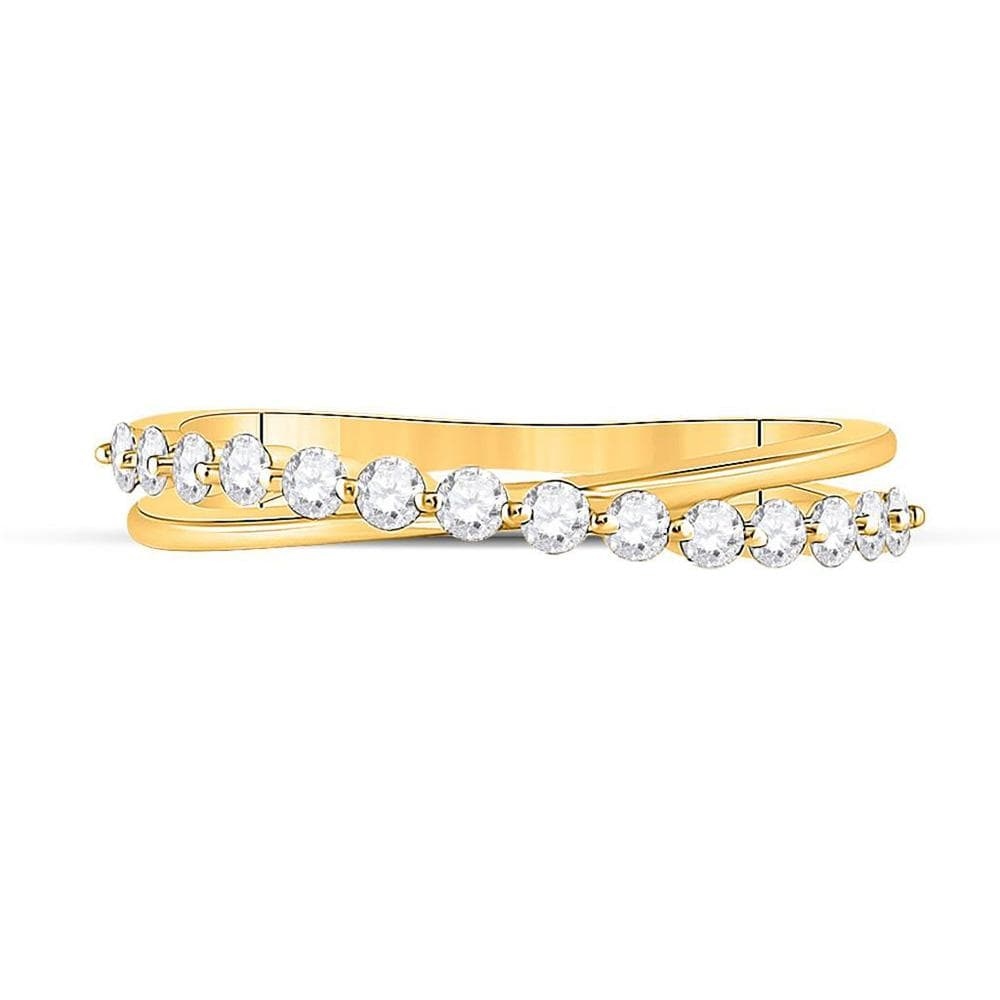 10kt Yellow Gold Womens Round Diamond Crossover Stackable Band Ring 1/3 Cttw