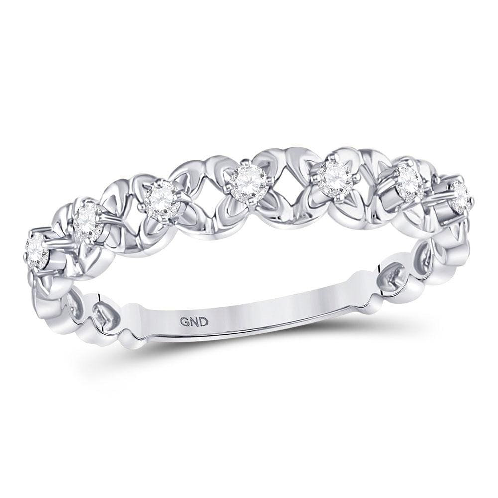 10kt White Gold Womens Round Diamond Flower Petal Stackable Band Ring 1/6 Cttw