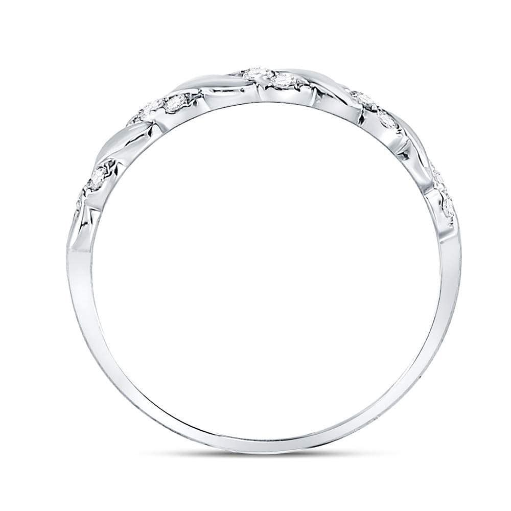 10kt White Gold Womens Round Diamond Striped Stackable Band Ring 1/5 Cttw