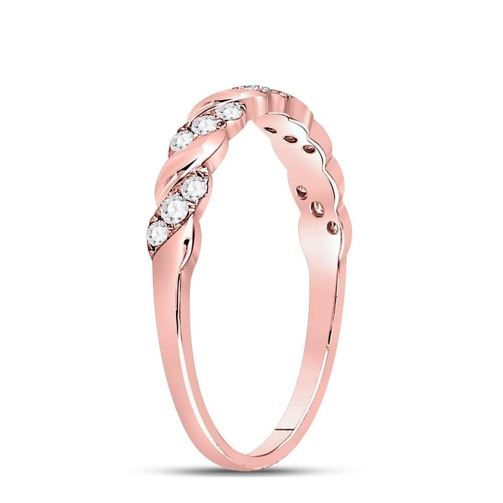 10kt Rose Gold Womens Round Diamond Striped Stackable Band Ring 1/5 Cttw