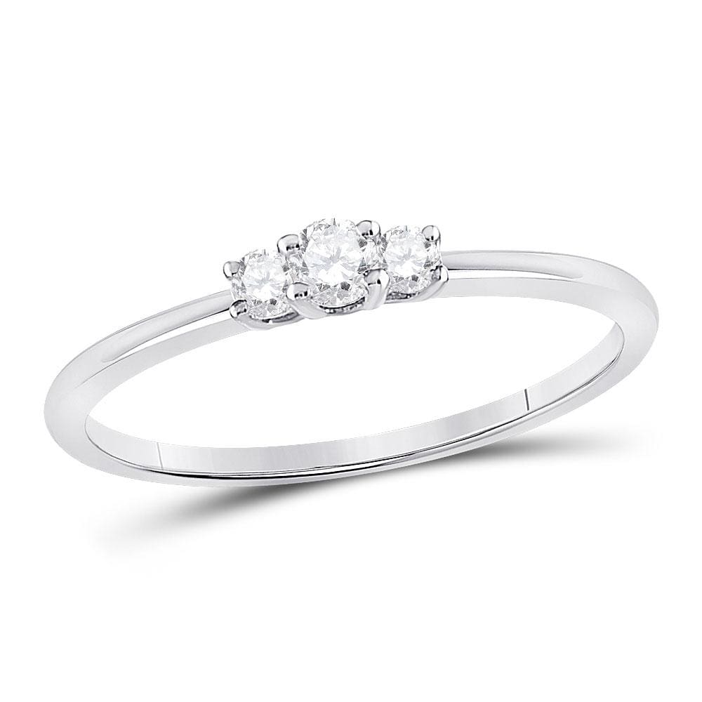 10kt White Gold Womens Round Diamond 3-Stone Stackable Band Ring 1/6 Cttw