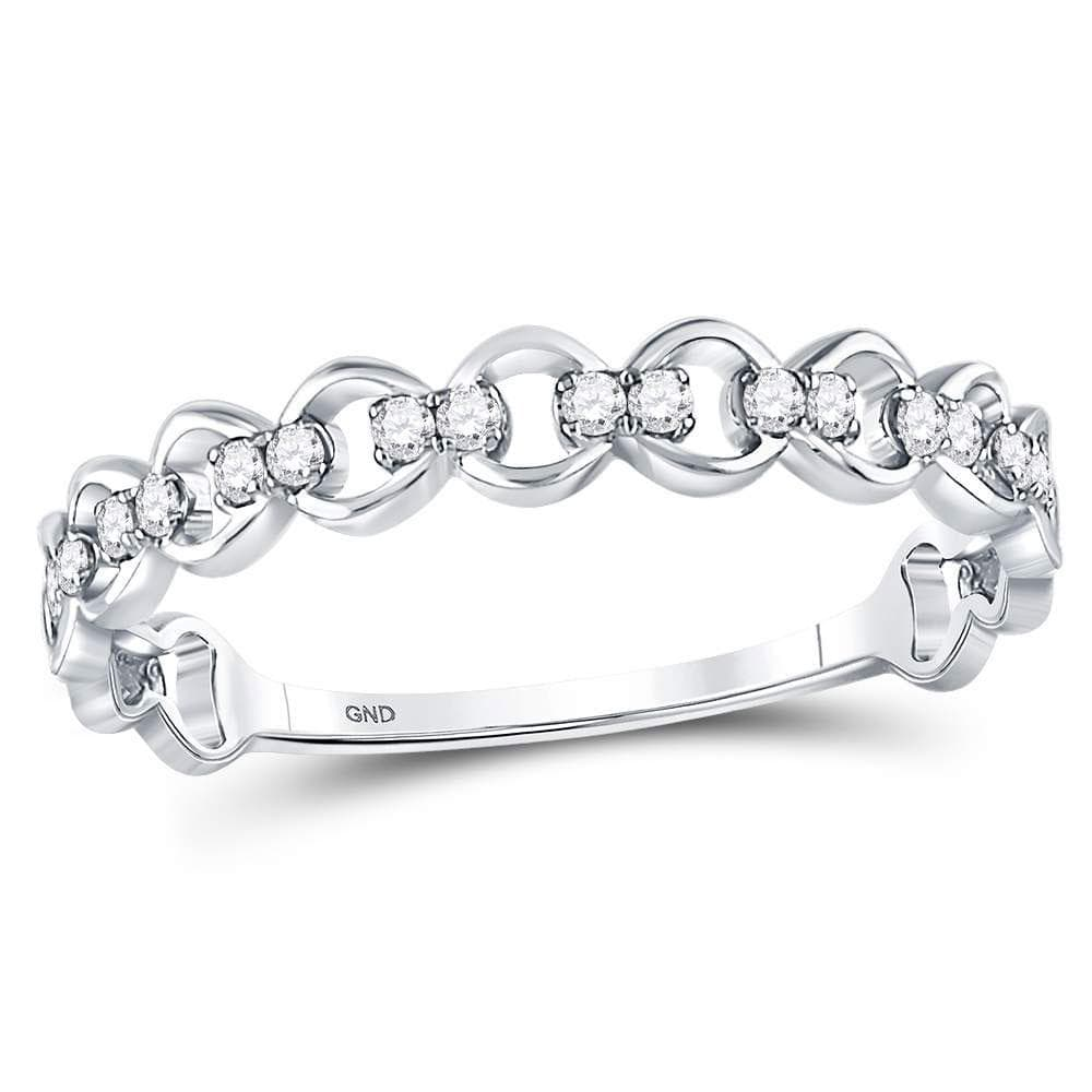 10kt White Gold Womens Round Diamond Link Stackable Band Ring 1/8 Cttw