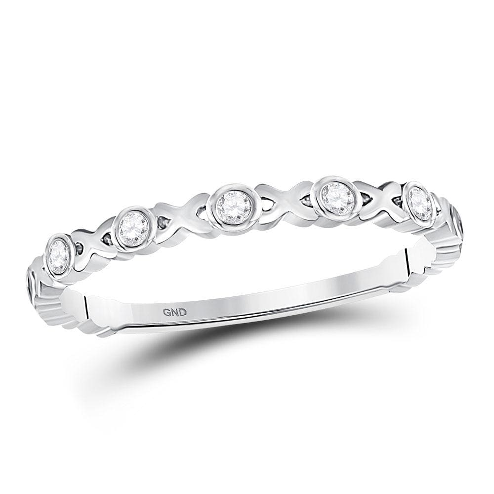10kt White Gold Womens Round Diamond XOXO Love Stackable Band Ring 1/12 Cttw