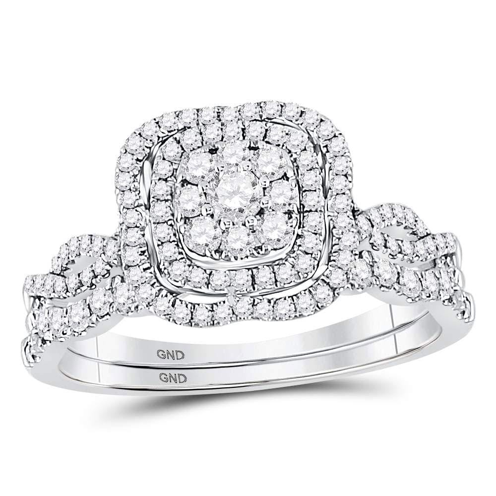 14kt White Gold Round Diamond Bridal Wedding Ring Band Set 5/8 Cttw