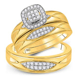 10kt Yellow Gold His Hers Round Diamond Cluster Matching Wedding Set 3/8 Cttw