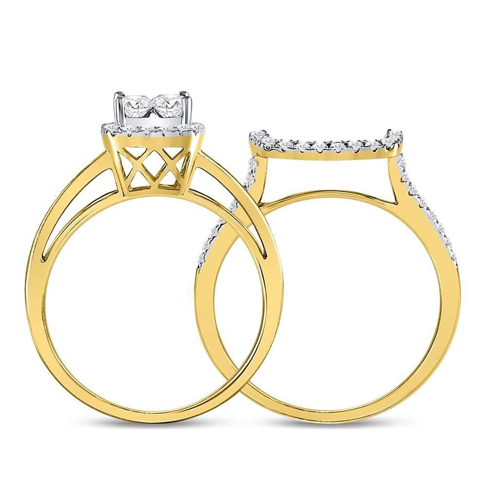 14kt Yellow Gold Womens Princess Diamond Cluster Bridal Wedding Engagement Ring 1-1/8 Cttw