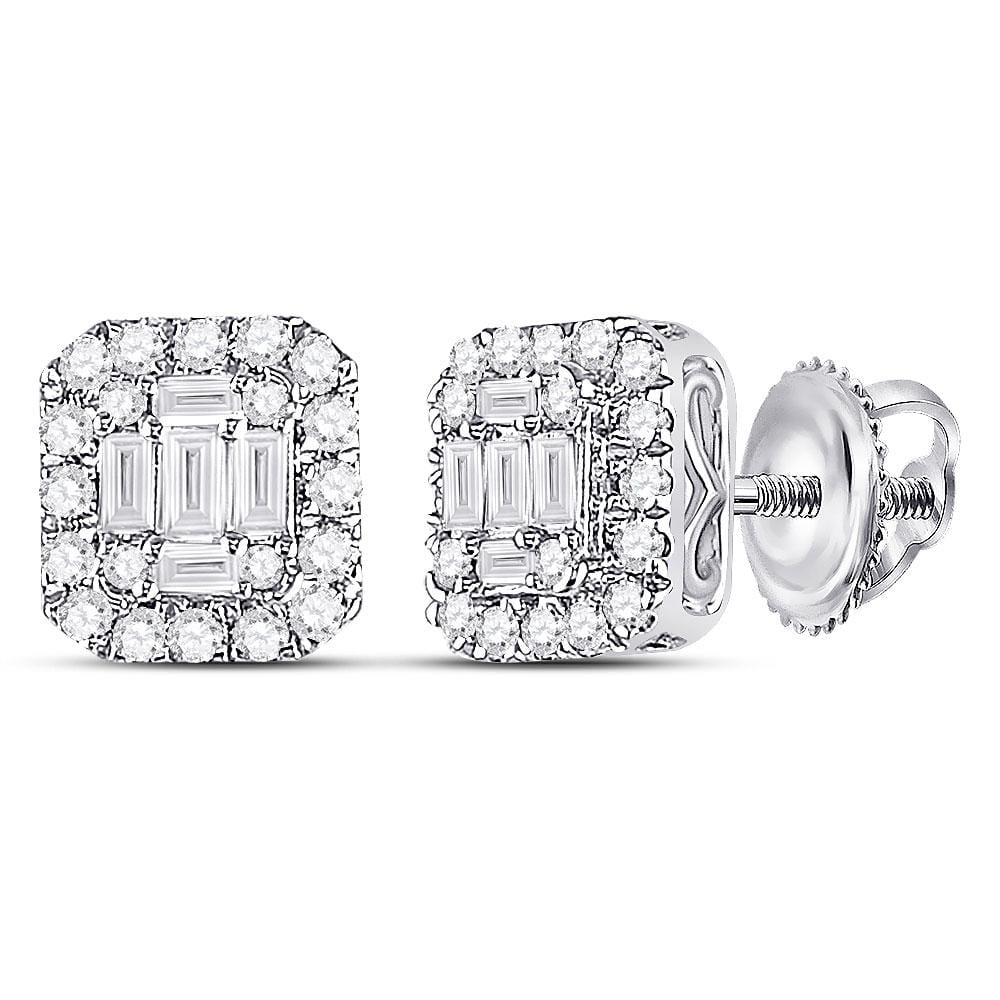 14kt White Gold Womens Baguette Diamond Square Cluster Earrings 1/2 Cttw