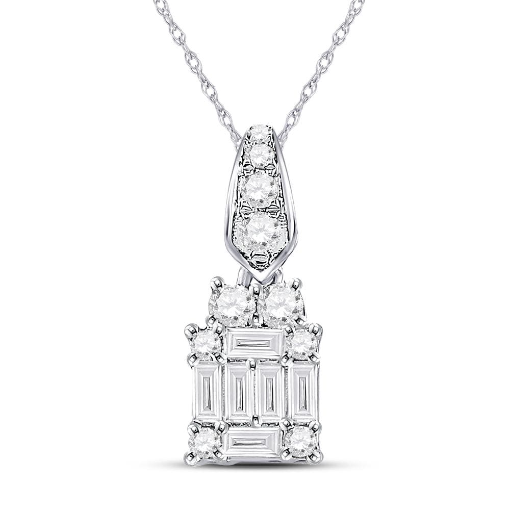 14kt White Gold Womens Baguette Diamond Fashion Cluster Pendant 1/3 Cttw