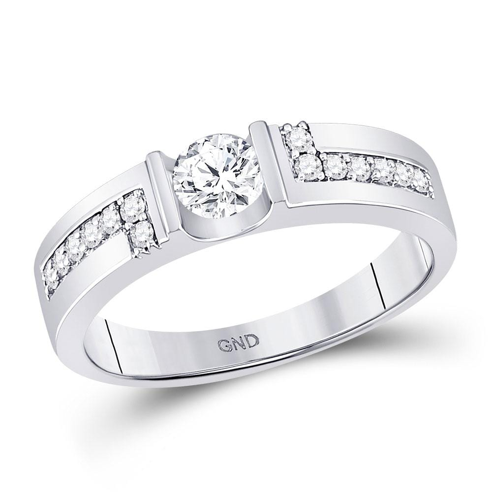 14kt White Gold Mens Round Diamond Solitaire Wedding Ring 3/4 Cttw