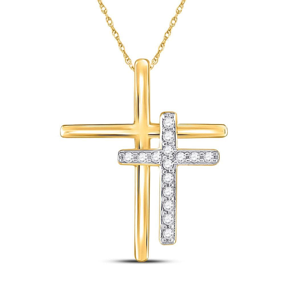10kt Yellow Gold Womens Round Diamond Double Cross Pendant 1/10 Cttw