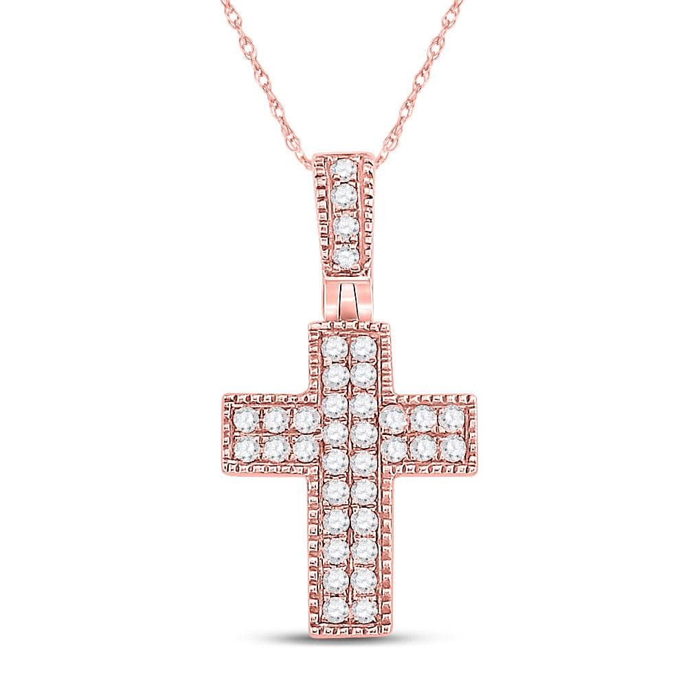 14kt Rose Gold Womens Round Diamond Squared Cross Pendant 1/5 Cttw