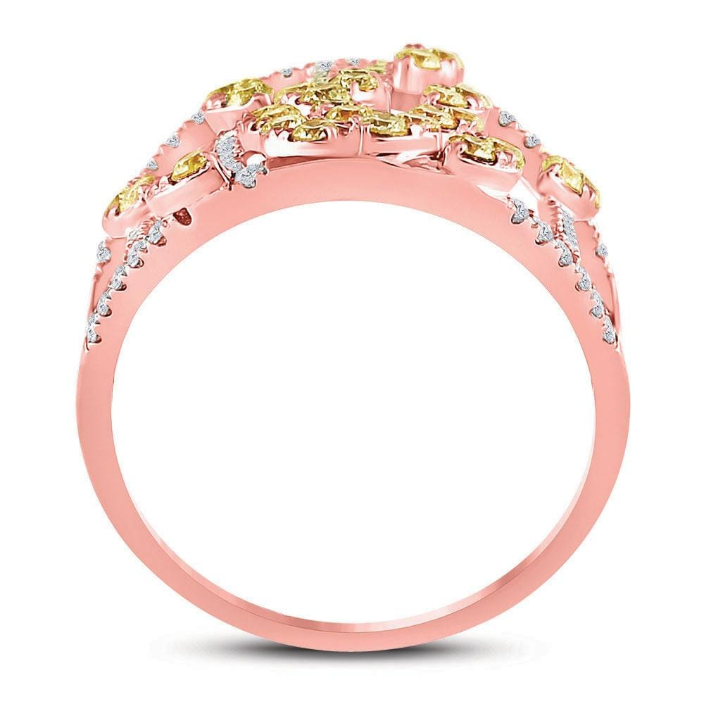 14kt Rose Gold Womens Round Yellow Diamond Open Strand Cocktail Ring 1-1/2 Cttw
