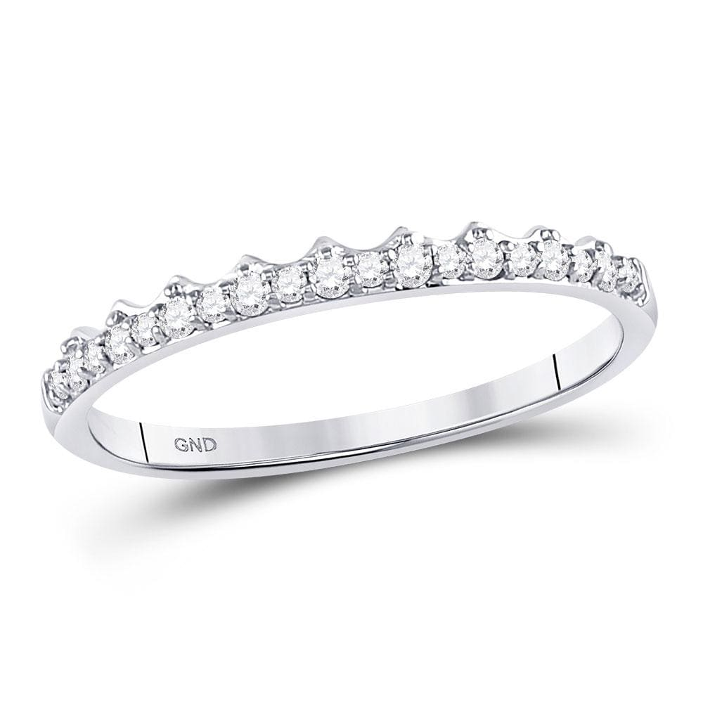 10kt White Gold Womens Round Diamond Slender Scalloped Stackable Band Ring 1/6 Cttw