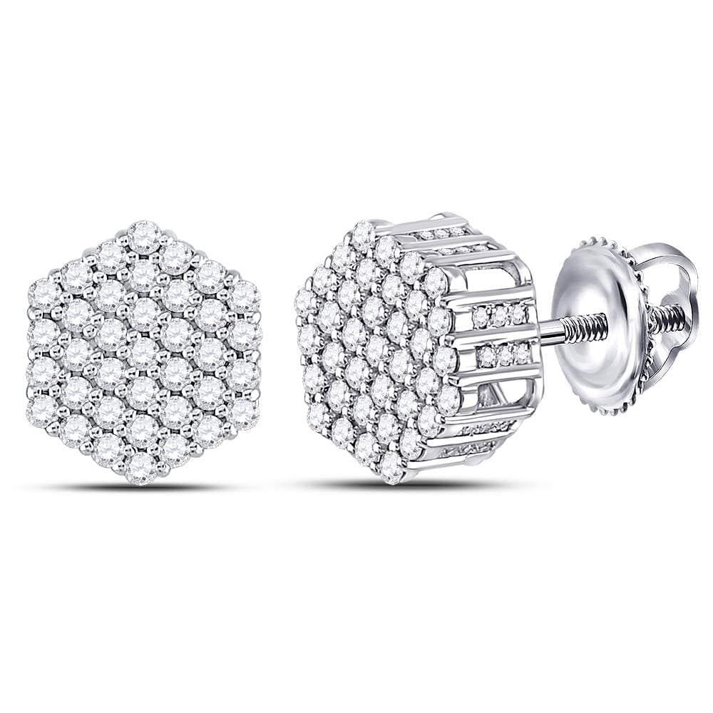 14kt White Gold Mens Round Diamond Hexagon Cluster Stud Earrings 1.00 Cttw