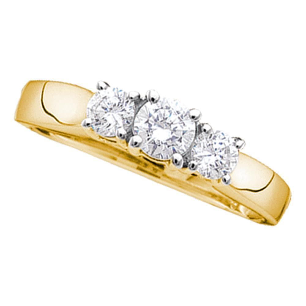 14kt Yellow Gold Womens Round Diamond 3-stone Bridal Wedding Engagement Ring 1/4 Cttw