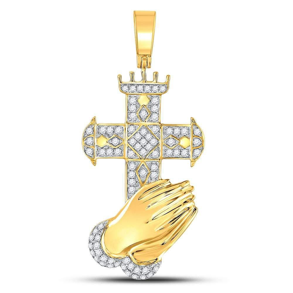 10kt Yellow Gold Mens Round Diamond Praying Hands Cross Charm Pendant 3/4 Cttw