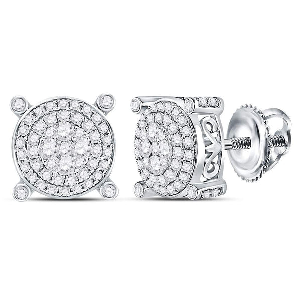 14kt White Gold Womens Round Diamond Circle Frame Cluster Earrings 1/2 Cttw