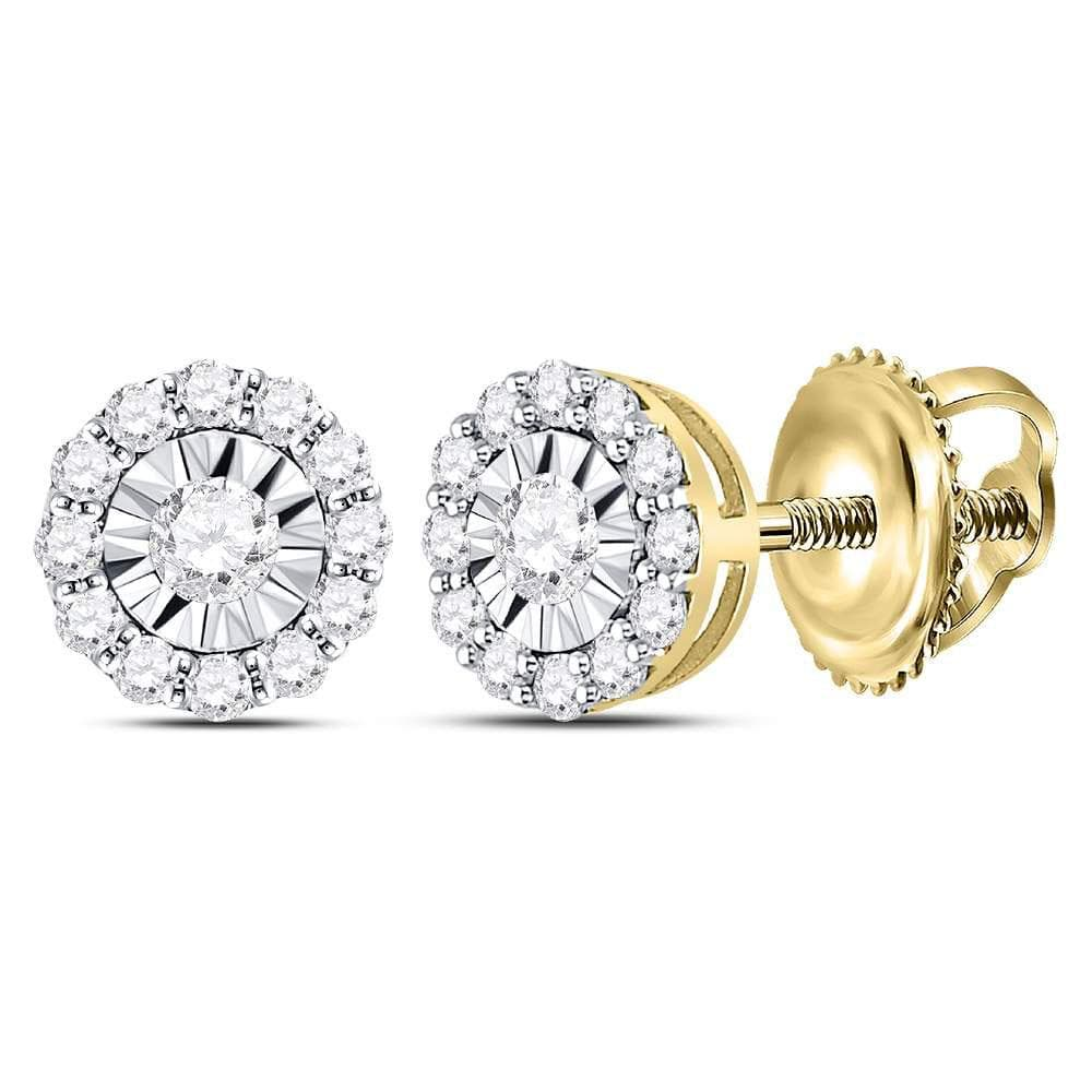 14kt Yellow Gold Womens Round Diamond Circle Frame Stud Earrings 1/2 Cttw