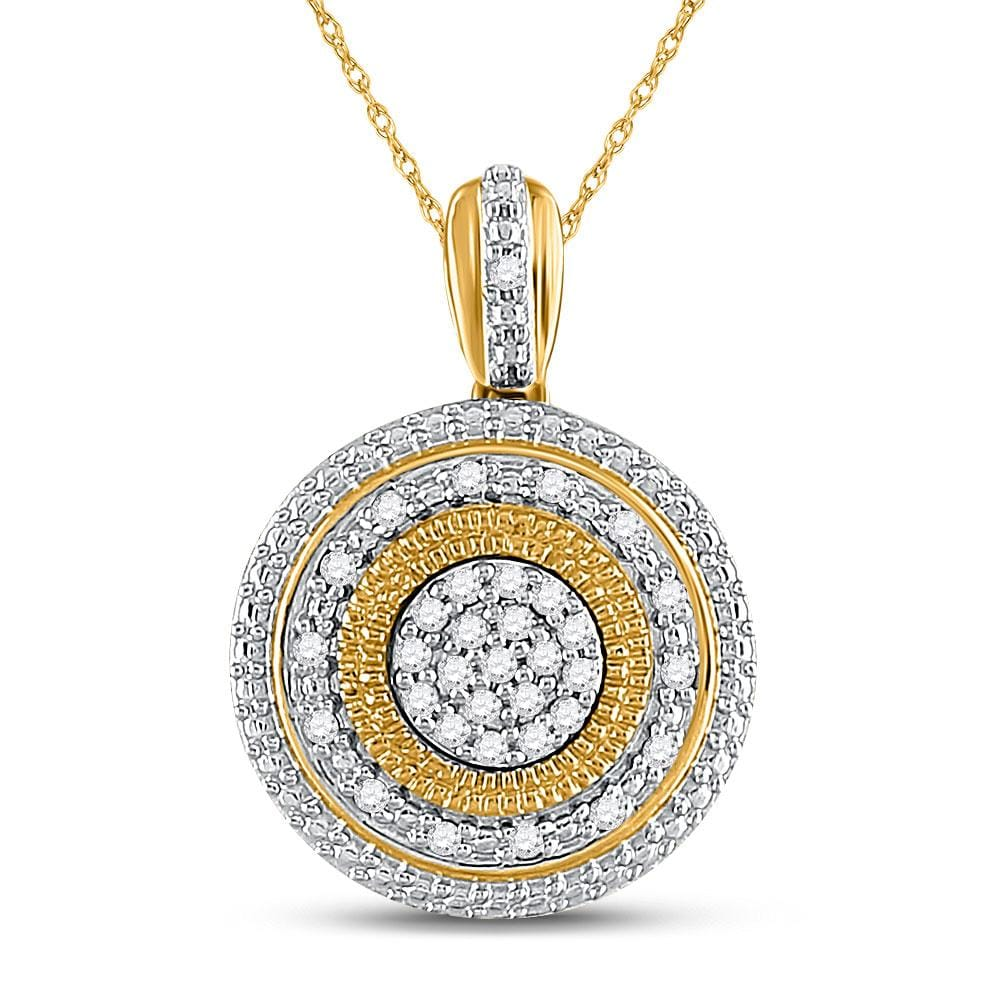 10kt Yellow Gold Womens Round Diamond Circle Pendant 1/10 Cttw
