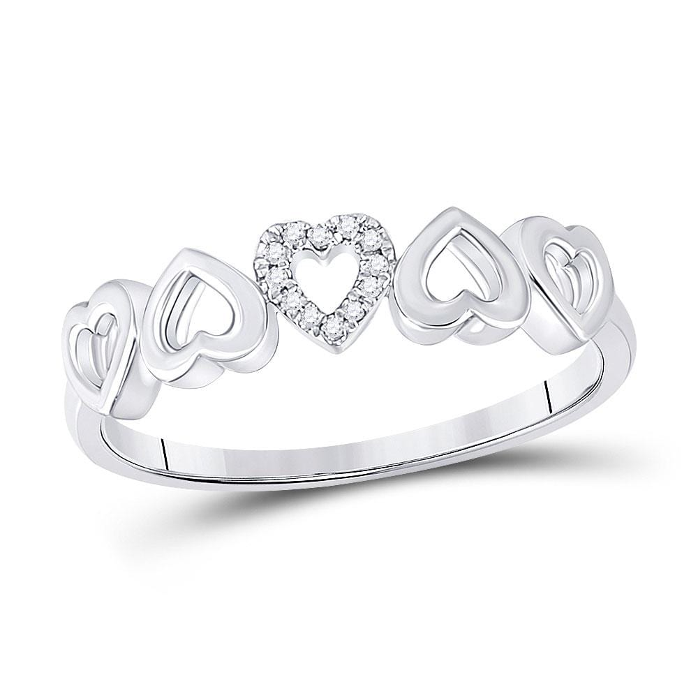 10kt White Gold Womens Round Diamond Alternating Heart Band Ring .03 Cttw