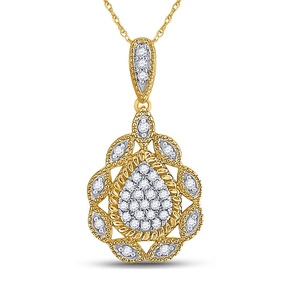 10kt Yellow Gold Womens Round Diamond Teardrop Pendant 1/8 Cttw