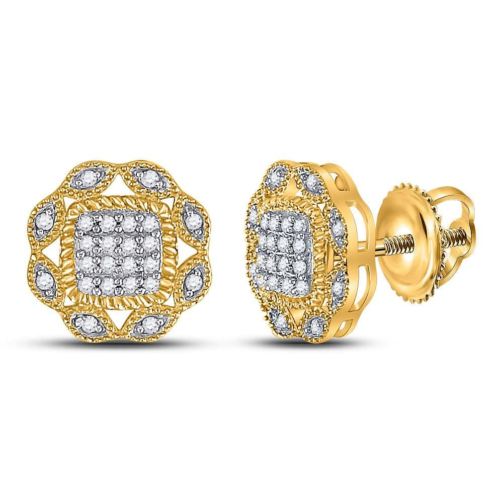 10kt Yellow Gold Womens Round Diamond Octagon Cluster Earrings 1/6 Cttw