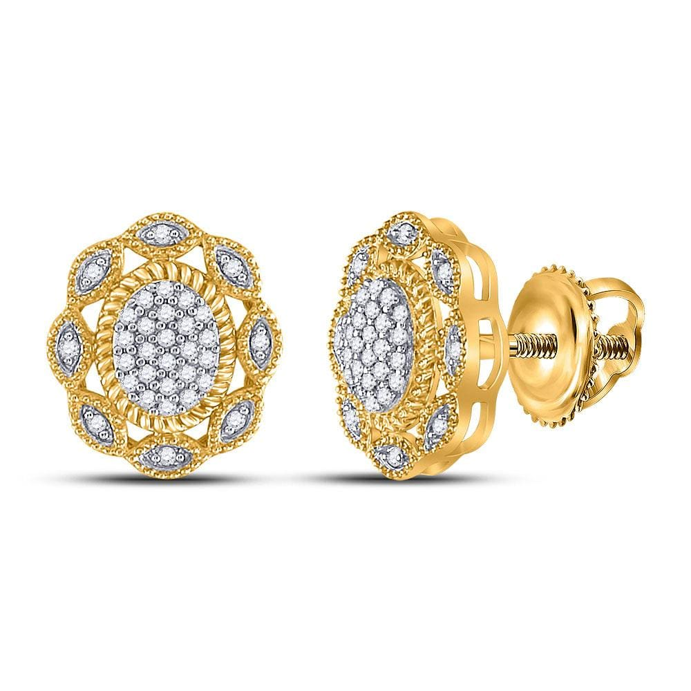 10kt Yellow Gold Womens Round Diamond Oval Earrings 1/6 Cttw
